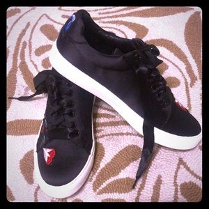 Black satin embroidered Report Tennis Shoes